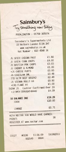 Receipt Sainsbury