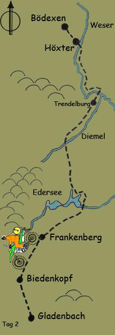 Tag 2 von Hšxter Ÿber Edersee bis Gladenbach