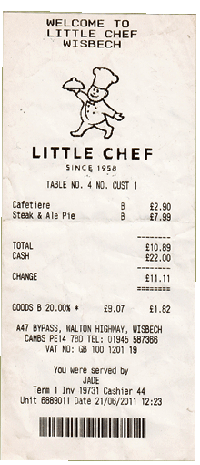 Little Chef Receipt