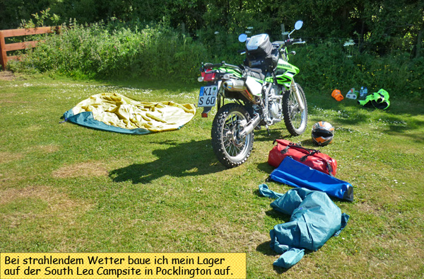 Zelt aufbauen in Pocklington
