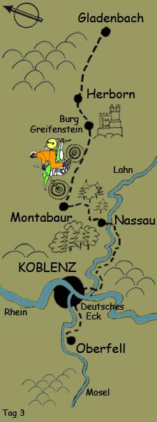 Tag 3 von Gladenbach Montabaur Nassau Koblenz Oberfell