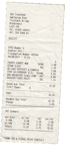 SPAR Windermere receipt