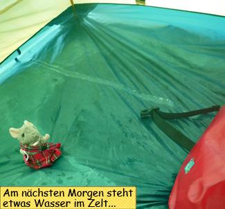 Wasser im Zelt