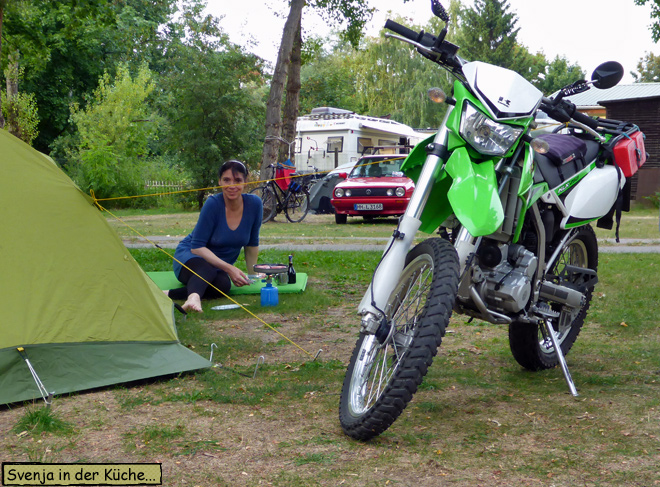 Campinginsel Havelberg Svenja Motorrad