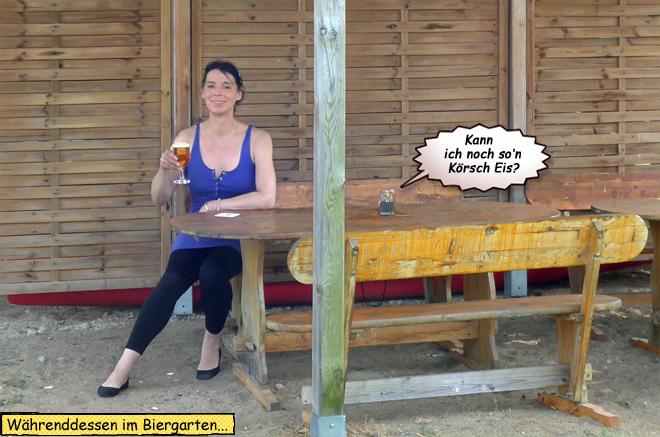 Svenja im Biergarten