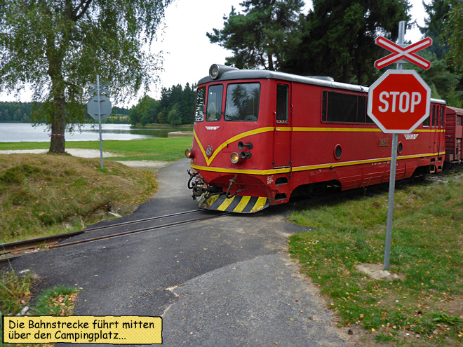 Camping Osika Tschechien Bahnlinie