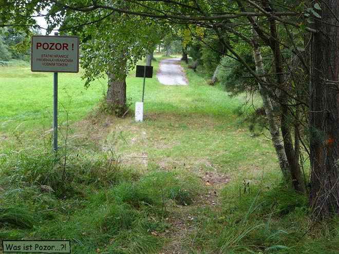 Grenze Tschechien Österreich im Wald