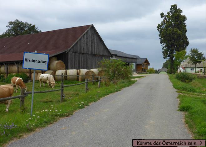 Hirschenschlag Österreich Ortsschild