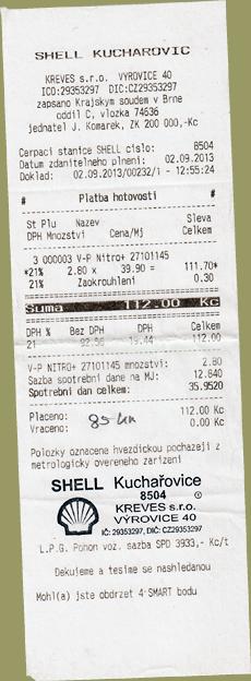 Benzinquittung Tschechien