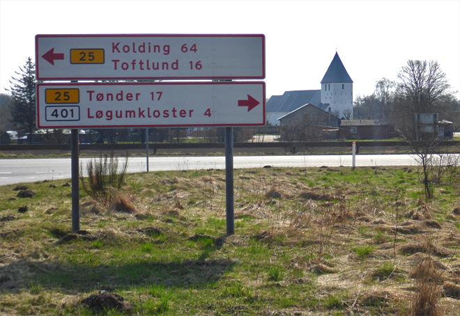 Wegweiser Kolding Løgumkloster Dänemark Landstrasse