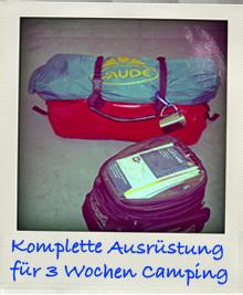 Endurowandern Gepäck Campingausrüstung