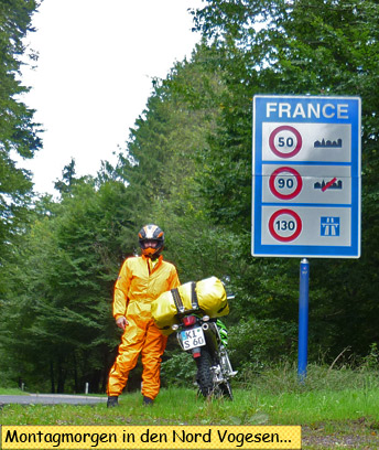 Ein GrenzŸbergang nach Frankreich in den Nord Vogesen