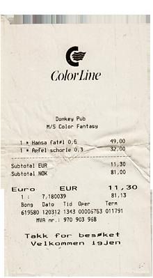 Colorline Getränkepreise