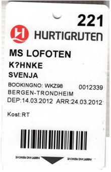 MS Lofoten Fahrkarte