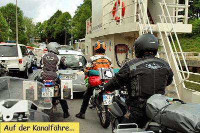 Kanalfähre Sehestedt mit dem Motorrad