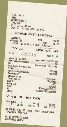 Tankquittung Norwegen