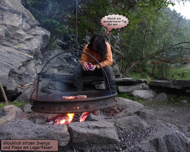 Svenja und Pieps am Lagerfeuer