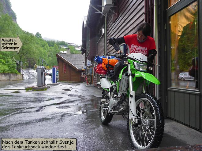Geiranger Tankstelle Motorrad