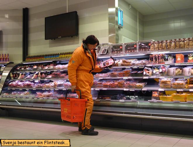 Einkaufen Fleischabteilung Norwegen