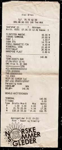 Supermarkt Quittung Ørnes
