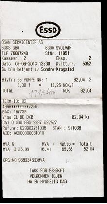 Kassenbon Esso Benzin Norwegen