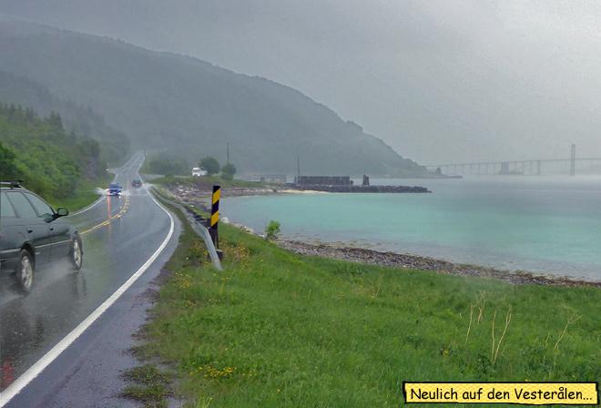 Gewitter Regen Norwegen Motorradtour