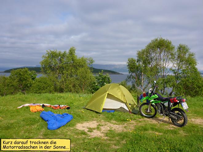 Zelten Motorrad Norwegen