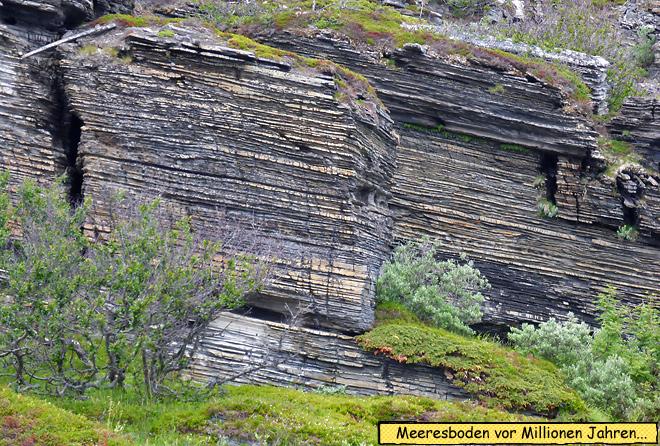 Sedimentschichten im Gestein Norwegen