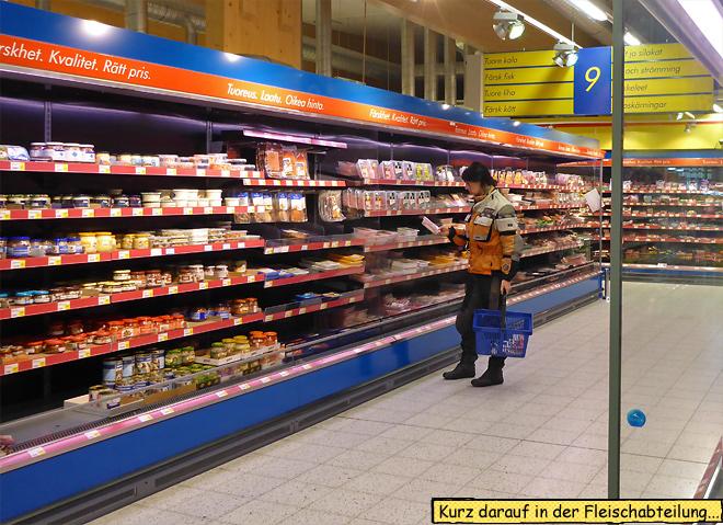 Finnland Fleischabteilung Supermarkt