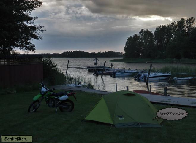 Schlafen im Zelt Motorradtour