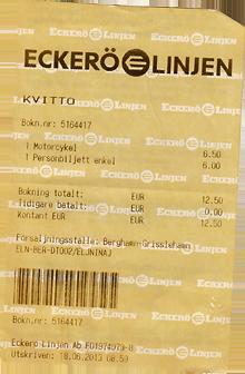 Eckerö Line Motorrad Preis Ticket
