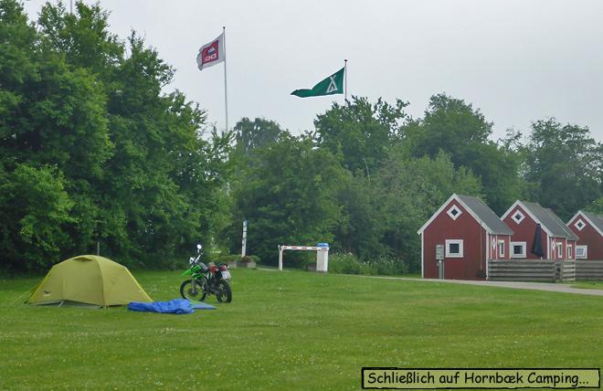 Dänemark Campingplatz Zelt Motorrad