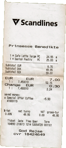 Scandlines Bordcafe Kassenbon