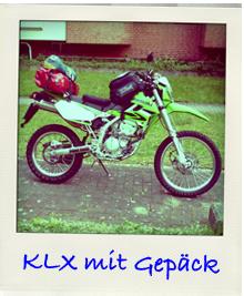 Kawasaki KLX250 mit Gepaeck