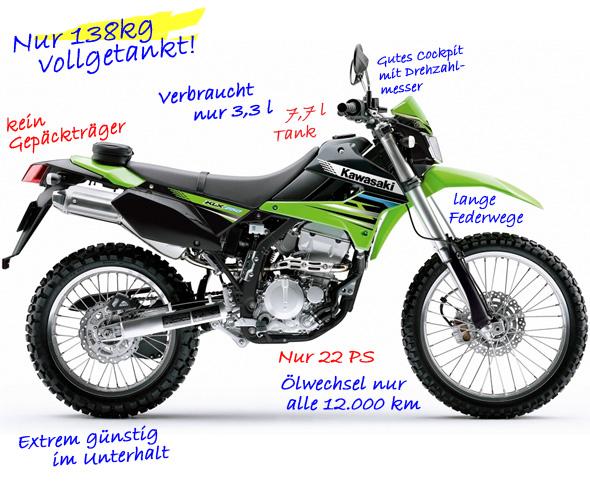 Svenjas Kawasaki KLX250 zum Endurowandern