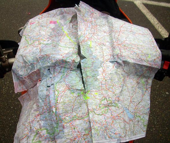 Landkarte bei Regen