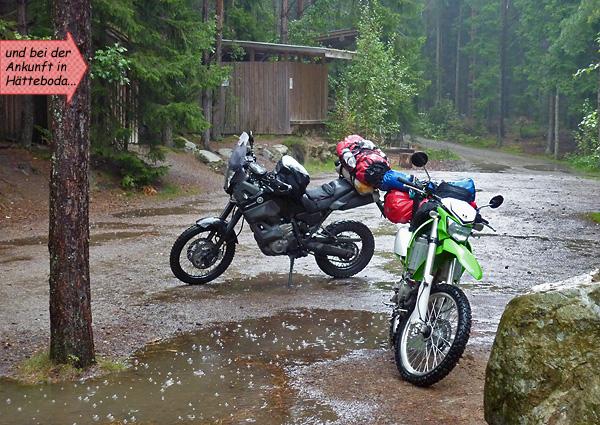 Regen in Schweden beim Camping