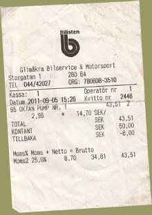 Tankbeleg Statoil Sweden