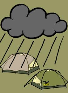 Zelte im Regen