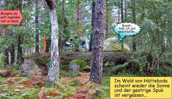 Zelten im Wald in Schweden Hätteboda