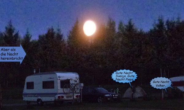 Skottek Camping bei Nacht