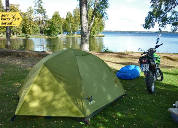 Enduro Zelt und Schlafsack in Schweden