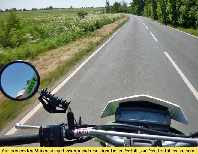 Motorrad in England mit Linksverkehr