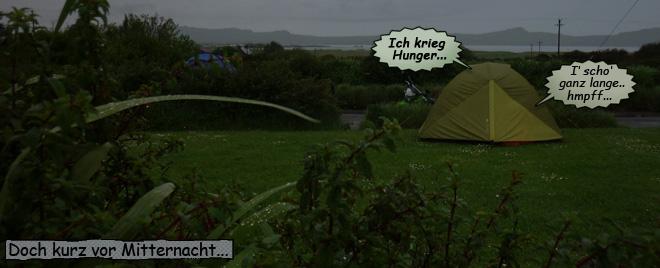 Pieps und Svenja schlafen im Zelt