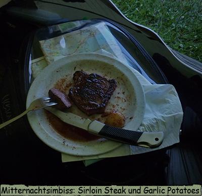 Im Zelt Steak essen