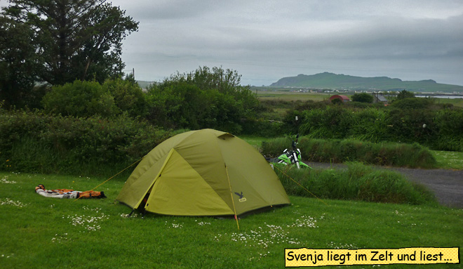 Zelt und Motorrad Irland