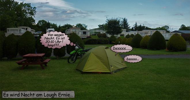 Nachts auf dem Campingplatz in Nordirland