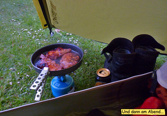 braten bei Regen im Zelt