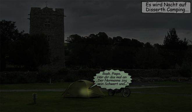 Stirnlampe im Zelt lesen