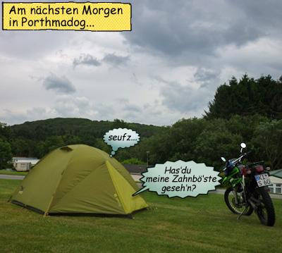 Enduro Kawasaki KLX 250 und Zelt